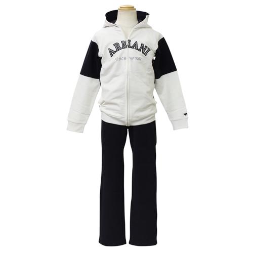 アルマーニ ジュニア ARMANI JUNIOR 子供服 セットアップ (長袖ジップアップパーカー・パンツ) SXD511WWHT