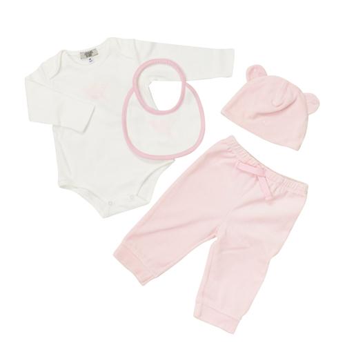 アルマーニ ベビー ARMANI BABY ベビー服 出産祝いギフト 4点セット (長袖ロンパース&スタイ&パンツ&キャップ) ZKT05WHT