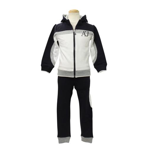 アルマーニ ジュニア ARMANI JUNIOR 子供服 セットアップ (長袖ジップアップパーカー・パンツ) UXD503G