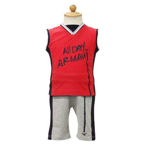 アルマーニ ベビー ARMANI BABY ベビー服 セットアップ (ノースリーブTシャツ・パンツ) RXD462ARED 【あす楽対応】【のし対応】