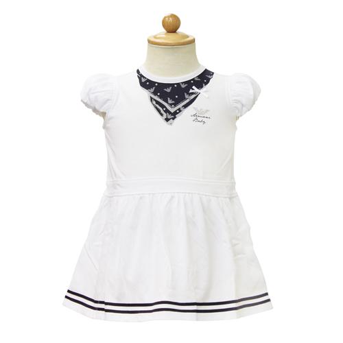 アルマーニ ベビー ARMANI BABY ベビー服 フレンチスリーブ ロンパース (ワンピース風) RXM045FWHT 【あす楽対応】【のし対応】