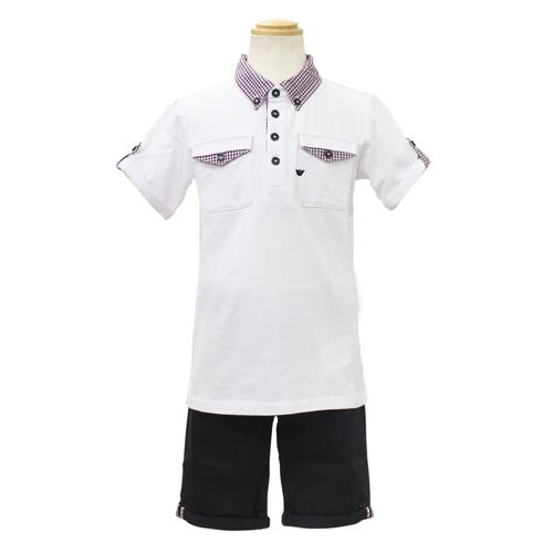 アルマーニ ジュニア ARMANI JUNIOR 子供服 セットアップ (半袖ポロシャツ・ハーフパンツ) TXD039QWHT