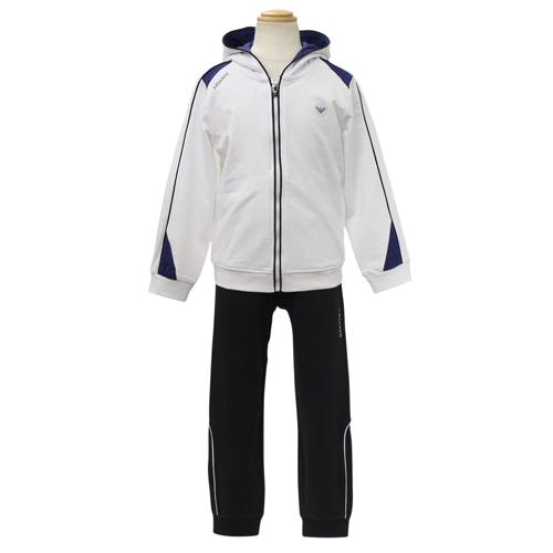 アルマーニ ジュニア ARMANI JUNIOR 子供服 セットアップ (長袖ジップアップパーカー・パンツ) TXD533TWHT