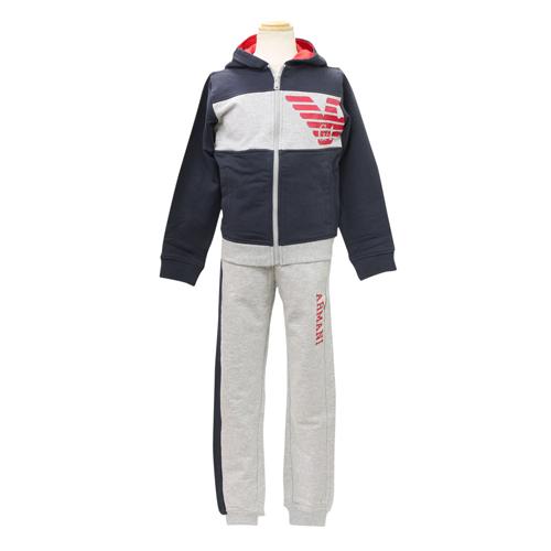 アルマーニ ジュニア ARMANI JUNIOR 子供服 セットアップ (長袖ジップアップパーカー・パンツ) B4T02【ラッピング無料】