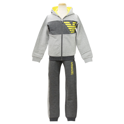 アルマーニ ジュニア ARMANI JUNIOR 子供服 セットアップ (長袖ジップアップパーカー・パンツ) B4T02GRY【ラッピング無料】