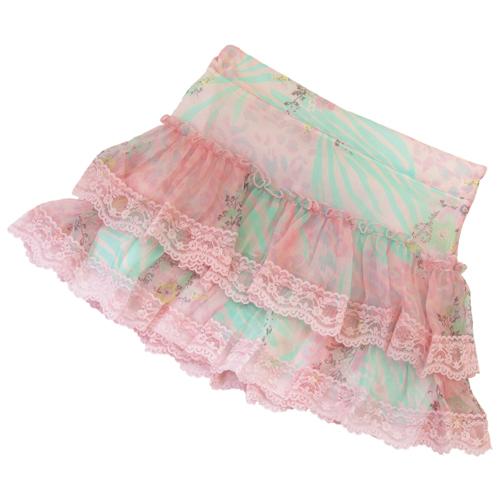【SALE】【再値下げ!】MISS BLUMARINE ミス ブルマリン シフォンレース 花柄スカート BJ5113【ブランド子供服】