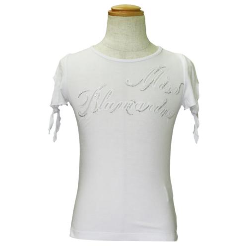 MISS BLUMARINE 【SALE】【値下げ!】ミス ブルマリン ラインストーン付 半袖Tシャツ○ BJ5256WHT【のし対応】【ブランド子供服】