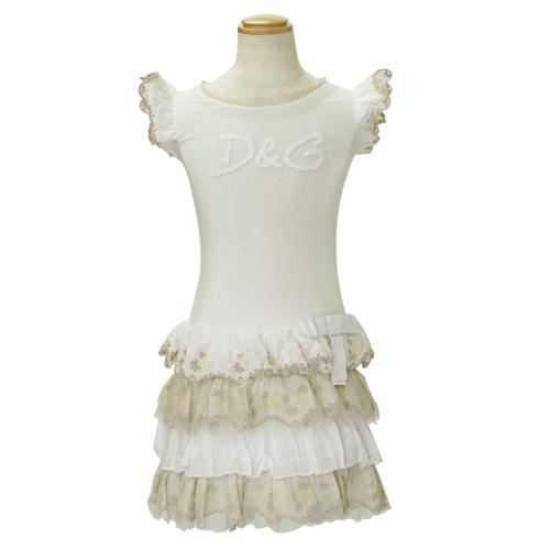D&G ジュニア ノースリーブ フリルワンピース 子供ドレス フォーマルドレス DGL54861WHT 【ブランド子供服】