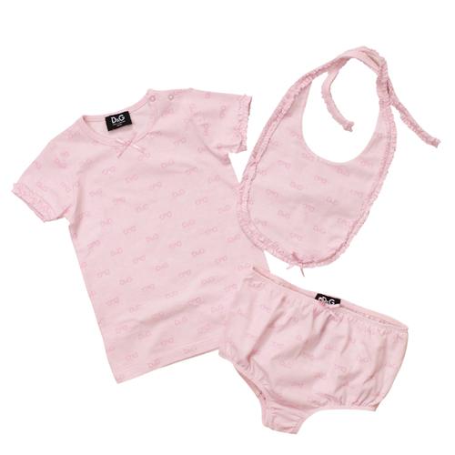 D&G ジュニア 出産祝いギフト 3点セット (半袖Tシャツ・スタイ・パンツ) DGL0AG02 【ブランド子供服】