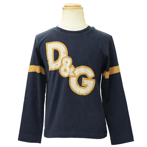 D&G ジュニア ロゴ長袖Tシャツ ロンT DGL45248NVY 【ブランド子供服】