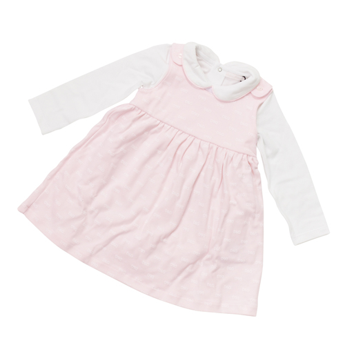 D&G ジュニア ベビー服 出産祝いギフト セットアップ (ノースリーブワンピース&長袖ロンパース) DGL2EG04PK