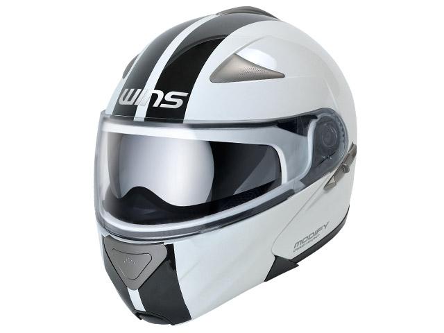 ウインズ(WINS)システムヘルメット MODIFY(モディファイ) ライン(GT STRIPE) (ホワイト×ブラック・M)
