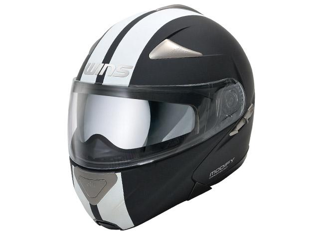 ウインズ(WINS)システムヘルメット MODIFY(モディファイ) ライン(GT STRIPE) (マットブラック×ホワイト・M)