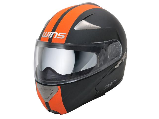 【M】ウインズ(WINS)システムヘルメット MODIFY(モディファイ) ライン(GT STRIPE) (マットブラック×オレンジ・XL)
