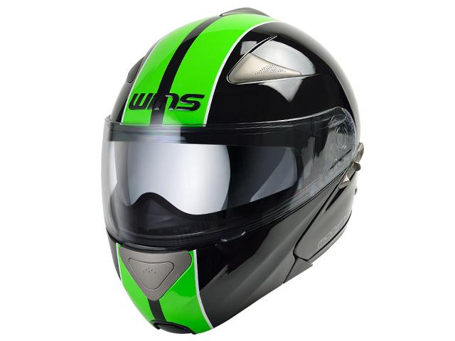 ウインズ(WINS)システムヘルメット MODIFY(モディファイ) ライン(GT STRIPE) (ブラック×グリーン・XL)