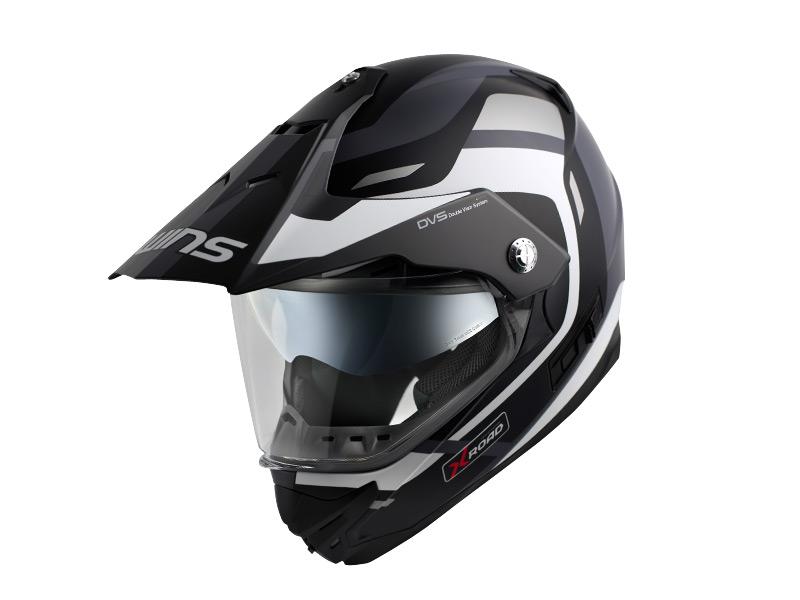 ウインズ(WINS)オフロードインナーバイザーつきヘルメット X-ROAD グラフィック(FREE RIDE) (マットブラック×ホワイト・XL)