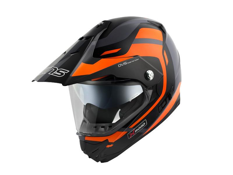 ウインズ(WINS)オフロードインナーバイザーつきヘルメット X-ROAD グラフィック(FREE RIDE) (マットブラック×オレンジ・L)