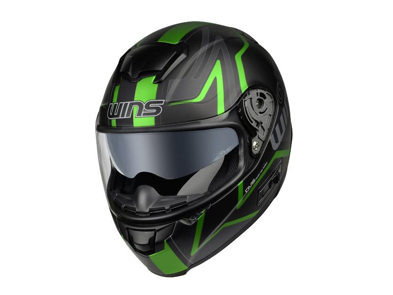 ウインズ(WINS)フルフェイスヘルメット FF-CONFORT(コンフォート) グラフィック(GT-Z) (マットブラック×グリーン・L)