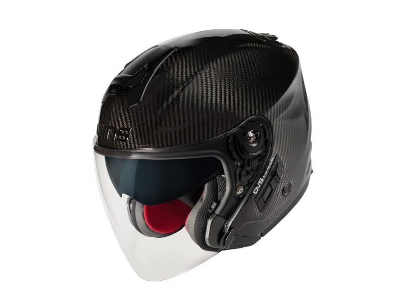 【M】ウインズ(WINS)ジェットヘルメット A-FORCE(エーフォース) RS JET インナーバイザー付きカーボン (カーボン(レッドインナー)・XL)