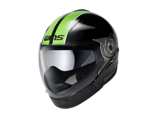 ウインズ(WINS)ジェット+アゴつきヘルメット MODIFY(モディファイ) アドバンス ライン (ブラック×グリーン・M)