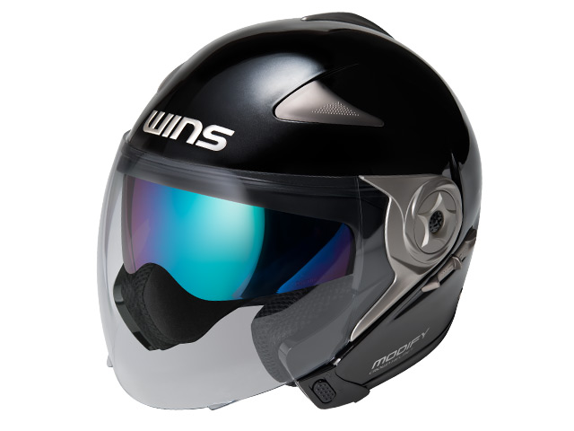 ウインズ(WINS)ジェット+アゴつきヘルメット MODIFY(モディファイ) JET (メタリックブラック・XL)