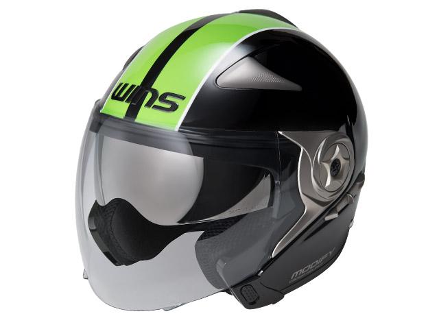 ウインズ(WINS)ジェット+アゴつきヘルメット MODIFY(モディファイ) JET ライン (ブラック×グリーン・XL)