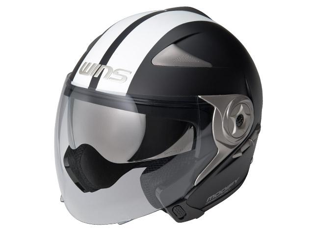 ウインズ(WINS)ジェット+アゴつきヘルメット MODIFY(モディファイ) JET ライン (マットブラック×ホワイト・XL)