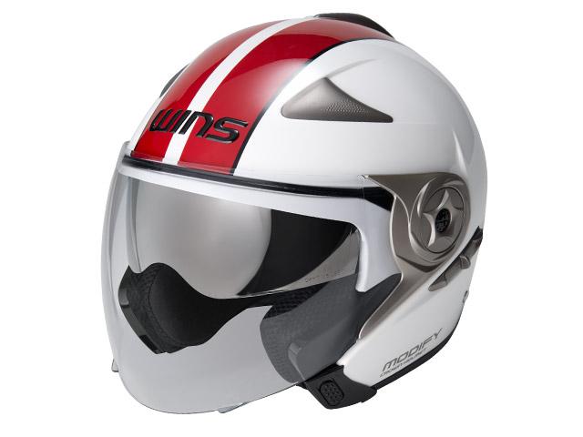 ウインズ(WINS)ジェット+アゴつきヘルメット MODIFY(モディファイ) JET ライン (ホワイト×レッド・XL)