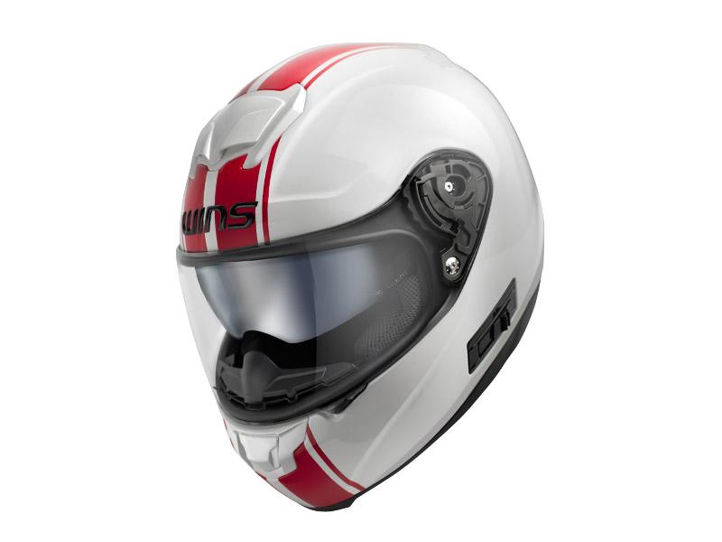 ウインズ(WINS)フルフェイスヘルメット FF-CONFORT(コンフォート) ライン (ホワイト×レッド・L)