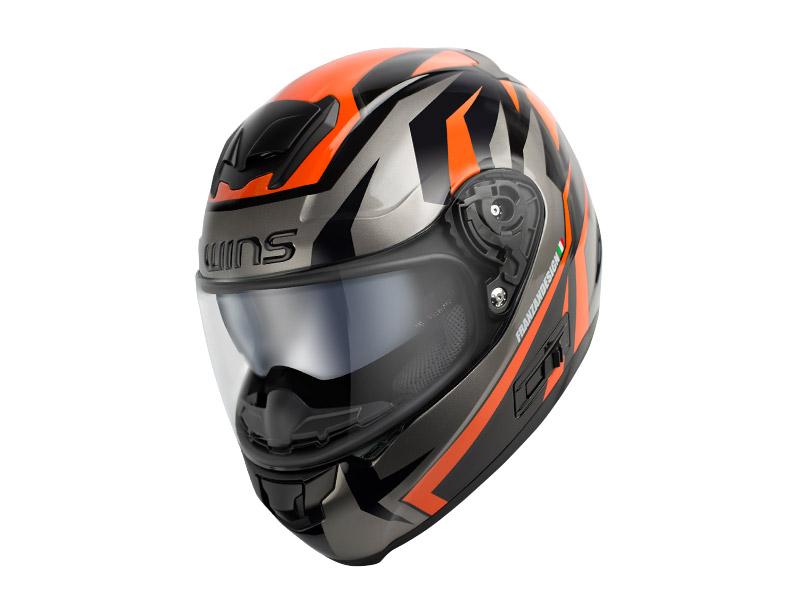 ウインズ(WINS)フルフェイスヘルメット FF-CONFORT(コンフォート) グラフィック(TANATOS) (ブラック×オレンジ・L)