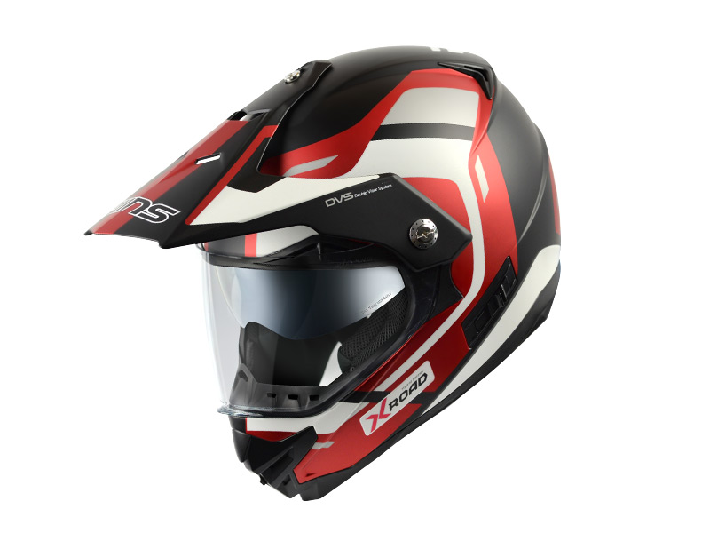 【M】ウインズ(WINS)オフロードインナーバイザーつきヘルメット X-ROAD グラフィック(FREE RIDE) (マットホワイト×アイアンレッド・L)