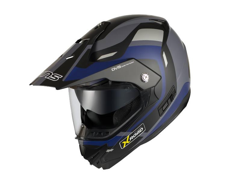 ウインズ(WINS)オフロードインナーバイザーつきヘルメット X-ROAD グラフィック(FREE RIDE) (マットブラック×ブルー・M)