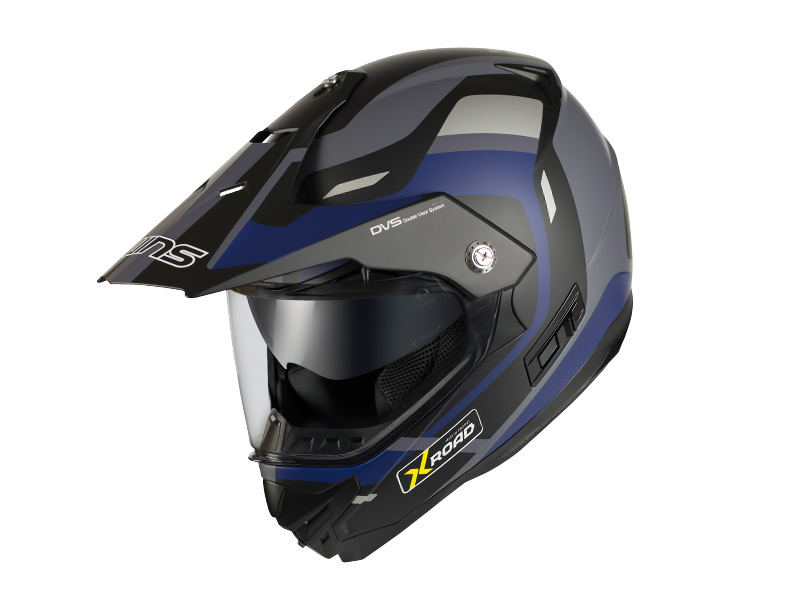 ウインズ(WINS)オフロードインナーバイザーつきヘルメット X-ROAD グラフィック(FREE RIDE) (マットブラック×ブルー・L)