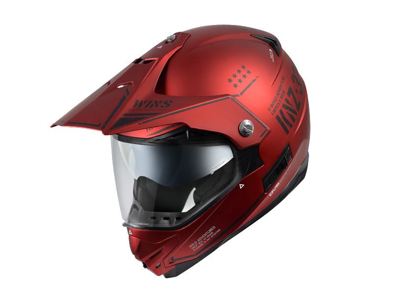 【M】ウインズ(WINS)オフロードインナーバイザーつきヘルメット X-ROAD グラフィック(COMBAT) (マットアイアンレッド・M)