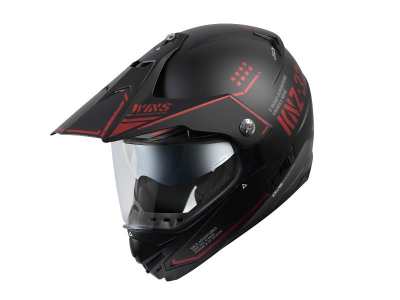 【M】ウインズ(WINS)オフロードインナーバイザーつきヘルメット X-ROAD グラフィック(COMBAT) (マットブラック×アイアンレッド・M)