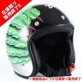 72JAM(ジャムテックジャパン) ジェットヘルメットIWAKI(岩城) Fifty one Feather Design(グリーン) [IW-03]