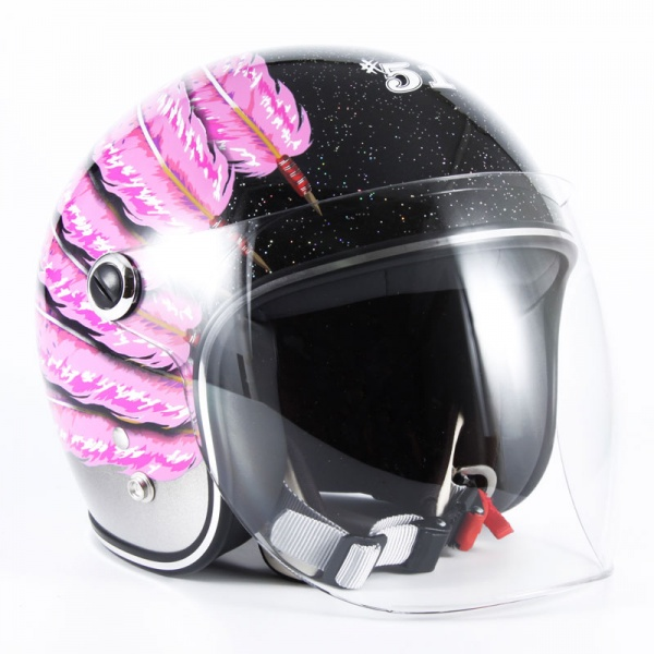 72JAM(ジャムテックジャパン) ジェットヘルメットIWAKI(岩城) Fifty one Feather Designキッズ(ピンク) [IWK-06]