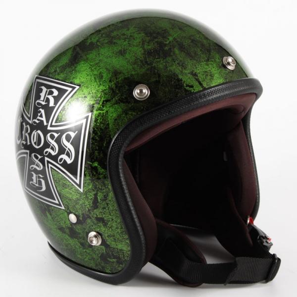 72JAM(ジャムテックジャパン) ジェットヘルメット72JAM JET RASH CROSS(グリーン) [JCP-16]