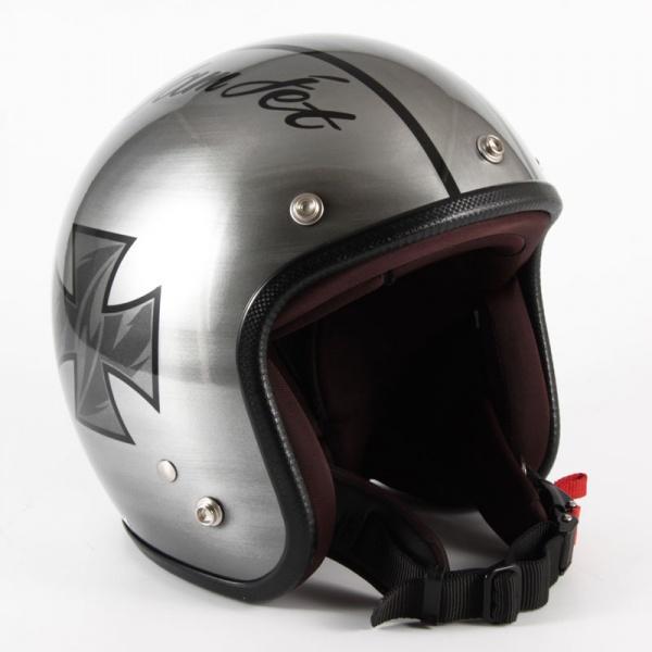 72JAM(ジャムテックジャパン) ジェットヘルメット72JAM JET IRON CROSS(シルバー) [JCP-29]