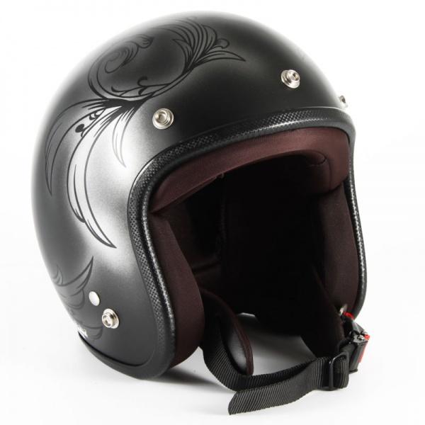 72JAM(ジャムテックジャパン) ジェットヘルメット72JAM JET Leaf レディース(シルバー/ブラック) [JCP-55]
