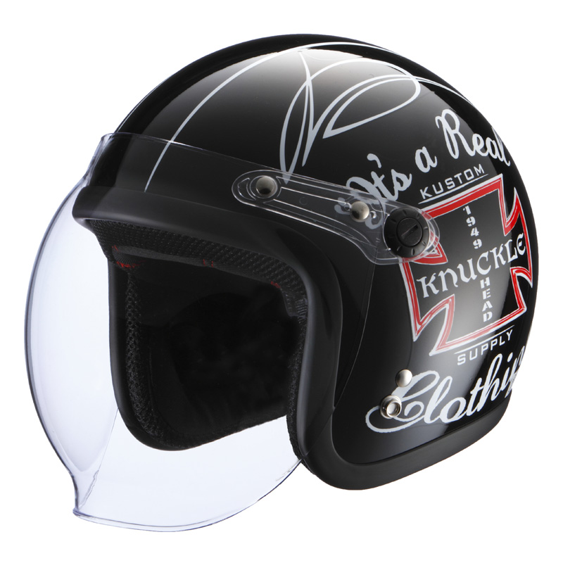 【送料無料】【在庫有】ライズ(RIDEZ) シールド付き ジェットヘルメット KNUCKLE HEAD(ナックルヘッド) カスタムクロス2 ブラック フリー(57~60cm未満)
