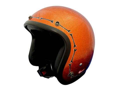 ヒートグループ ジェットヘルメット BONE COLLECTOR (フレークオレンジ/フリー)