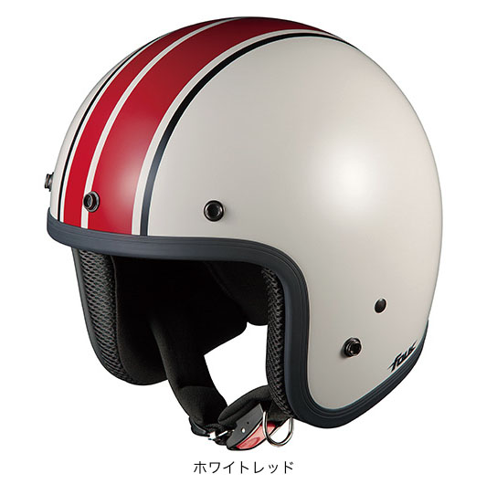OGK(オージーケー) ジェットヘルメット フォーク G1 (ホワイトレッド/57~59cm)
