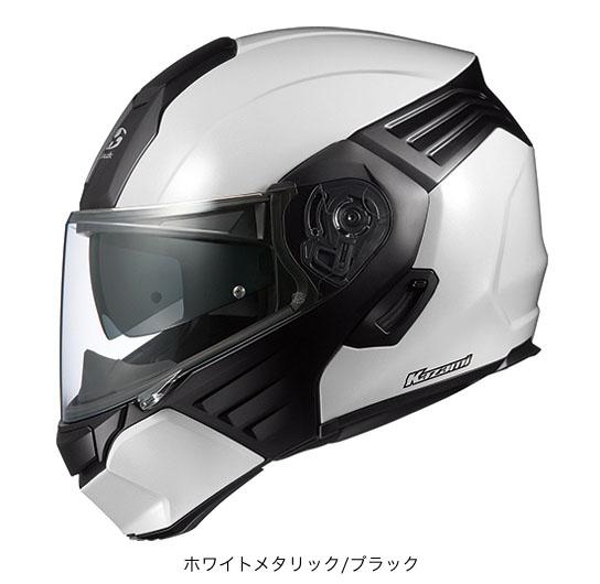 OGK(オージーケー) フルフェイスヘルメット KAZAMI(カザミ) (ホワイトメタリック/ブラック/L(59~60cm未満))