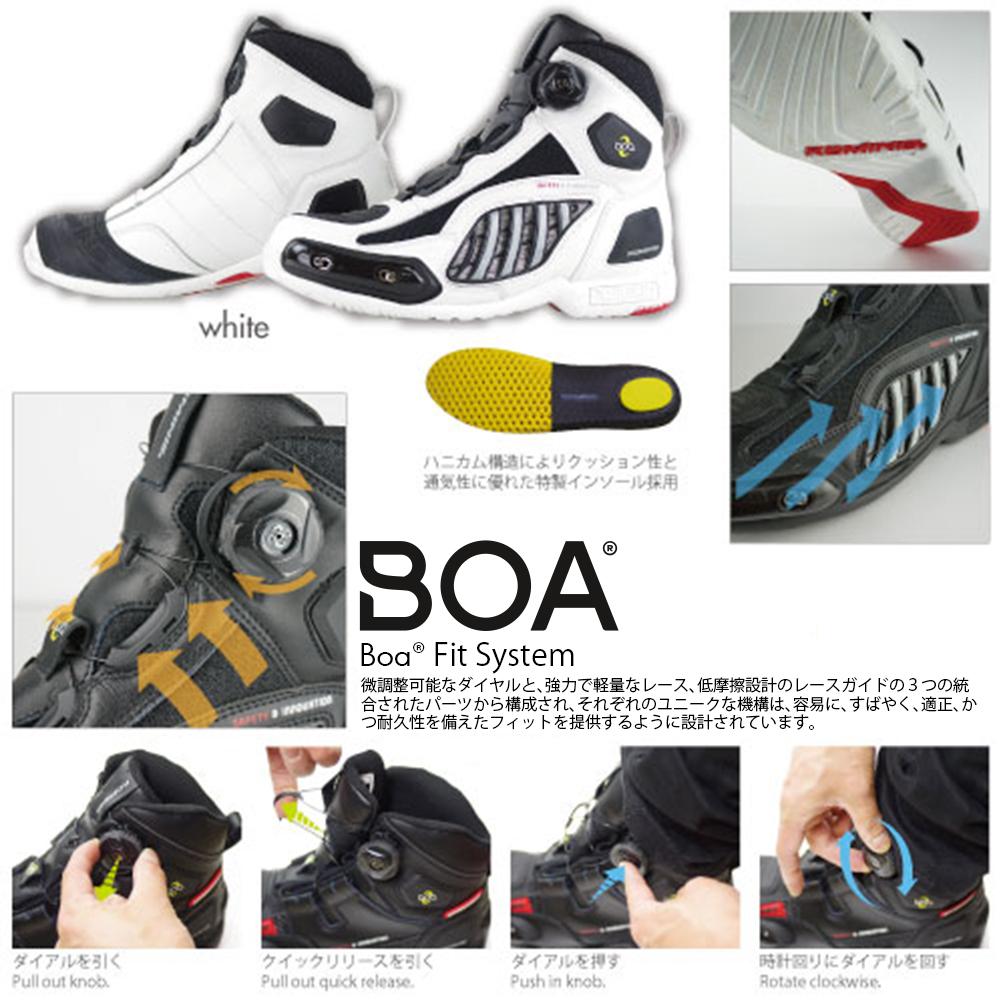 コミネ(KOMINE) BK-078 エアスループロテクト Boa シューズスポート (ホワイト/27.5)