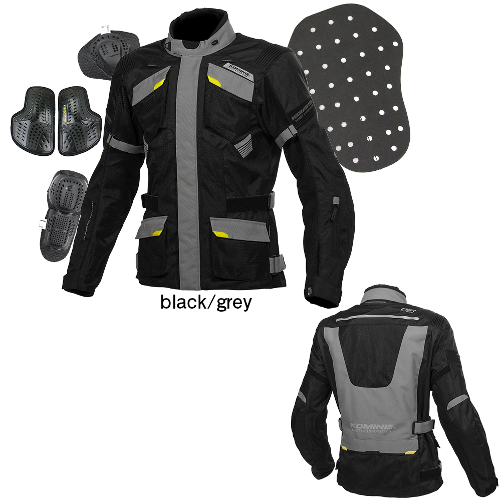 コミネ(KOMINE) JK-142 プロテクトアドベンチャーメッシュジャケット (ブラック/グレー/WM)
