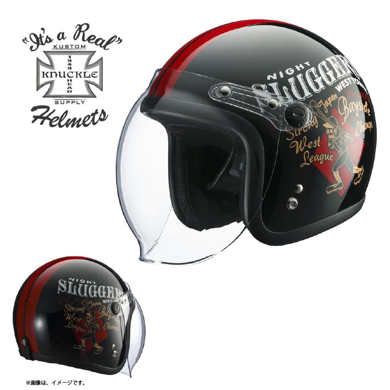 【送料無料】【在庫有】ライズ(RIDEZ) シールド付き ジェットヘルメット KNUCKLE HEAD(ナックルヘッド) RJ605 PLAY BONES2 ブラック/レッド