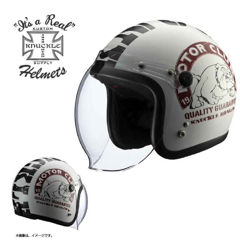 【送料無料】【在庫有】ライズ(RIDEZ) シールド付き ジェットヘルメット KNUCKLE HEAD(ナックルヘッド) BULL2 ホワイト/ブラック