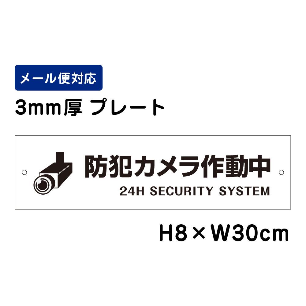 限定価格セール 10枚までメール便対応 屋外対応 防水 防犯カメラ作動中 24H SECURITY 商品番号:ATT-005 H8×W30cm 看板プレート SYSTEM プレート 国内正規品 ピクト表示