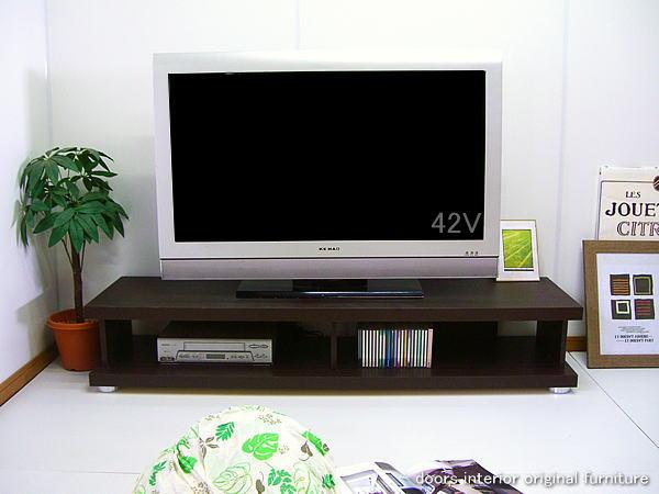 大川家具 幅150cm テレビ台 ガイヤ 完成品 ダークブラウン ウエンジカラー 40型42型46型の大型テレビ薄型テレビ対応 高さ26cmロータイプテレビボード リビングボード AVボード AV収納 ラック 国産品 木製 送料無料
